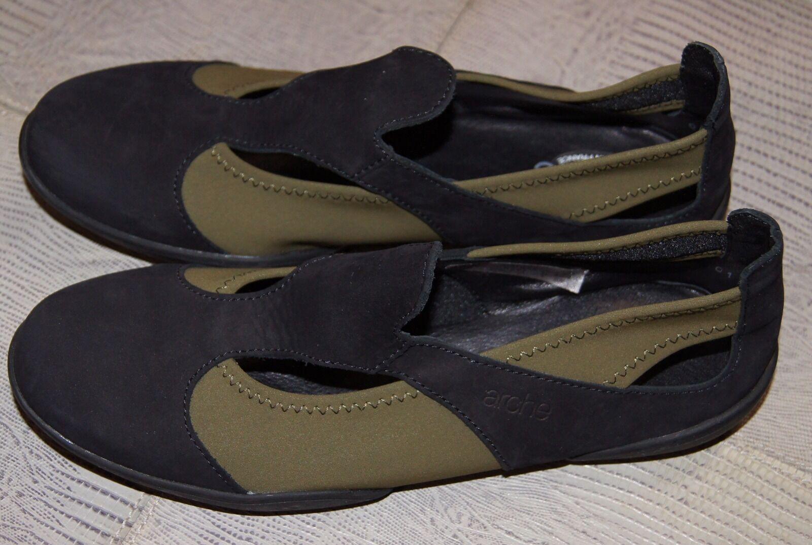 Arche Relax Flat shoes In Black Leather Khaki Stretch UK 2 EU 35