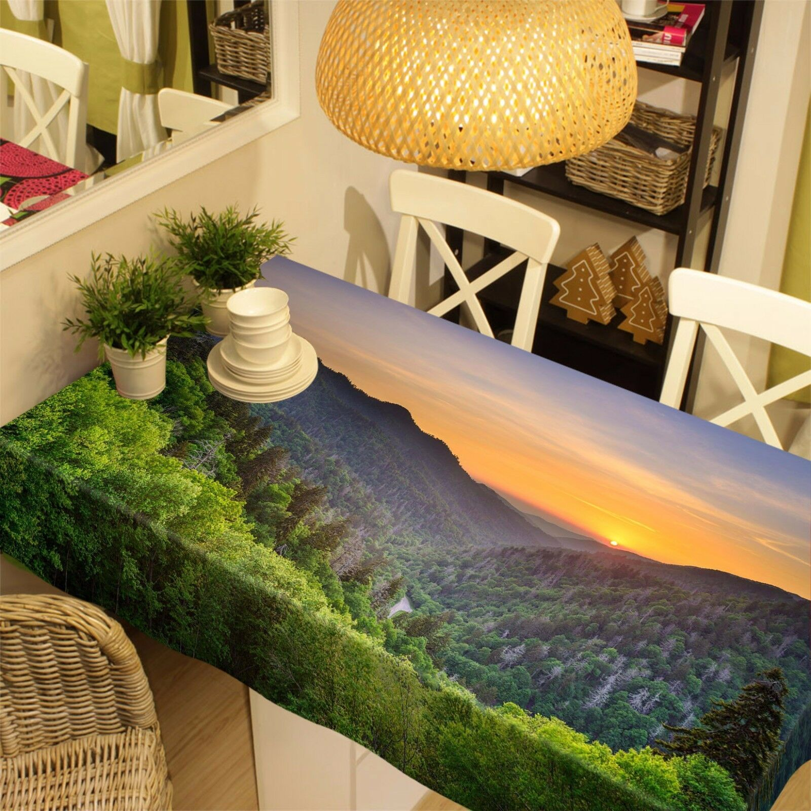 3D Hills Sunset 3 Tablecloth Table Cover Cloth Birthday Party Event AJ WALLPAPER