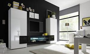 Dettagli su Soggiorno moderno bianco lucido e nero, parete attrezzata di  design