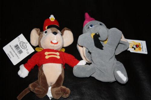 "DISNEY STORE DUMBO THE FLYING ELEPHANT /& TIMOTHY THE MOUSE 8/"" BEANBAG PLUSH NWT"