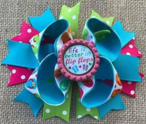 985060bc9 Details about Turquoise Pink Green Life is Better in Flip Flops Bottle Cap Hair  Bow 5
