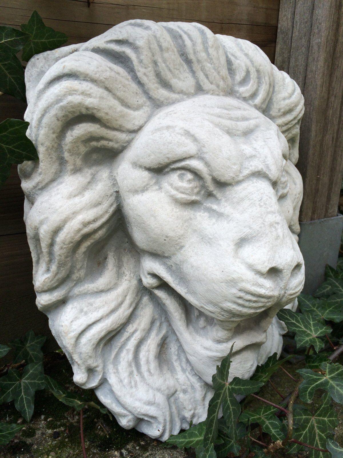 Gran gárgola piedra blancoo, cabeza de león como Antik