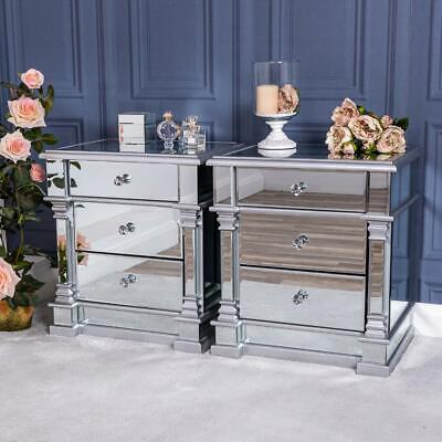 Pair Of Silver Mirrored Bedside Table, Venetian Mirrored Bedroom Furniture Uk