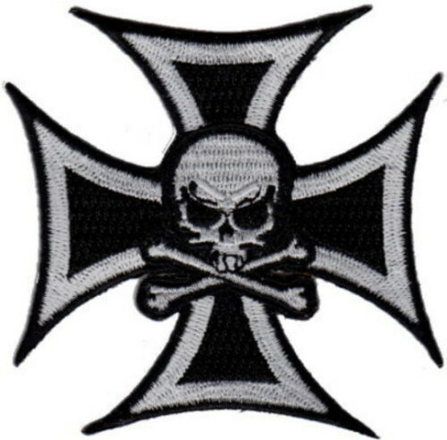 """3 Pcs Skull in Cross Embroidered Patches 3/""""x3/"""" iron-on"""