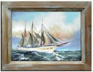 Gemaelde-Olbild-Bild-Olbilder-Rahmen-Bilder-Seefahrt-Schiffe-Olgemaelde-G00522