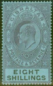 Gibraltar 1903 8s Violet Terne & noir-bleu SG54 Fine & Fresh Légèrement Mtd