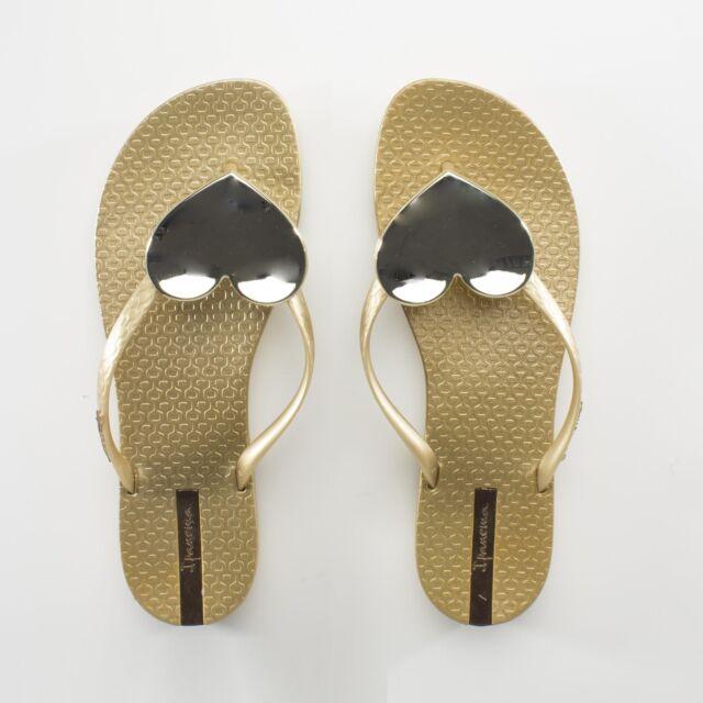 ddc2d0117cd Ipanema MAXI HEART Womens Ladies Summer Beach Toe Post Sandals Flip Flops  Gold