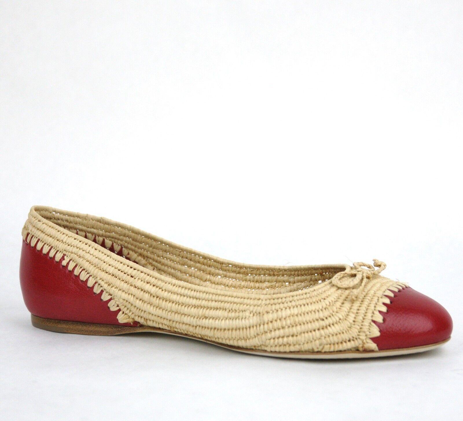 $780 New Bottega Veneta Straw Leather Ballet Flat w/Bow Beige Red 338295 9867