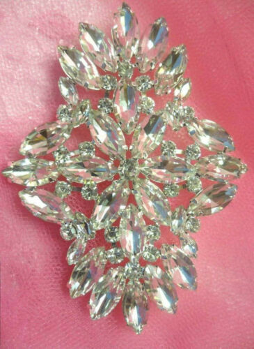 XR263 Crystal Rhinestone Applique Embellishment Silver Settings 3.5/""