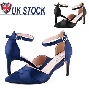 b420cc3124e Details about Womens Mid High Heel Pumps Court Shoes Pointed Toe Sandals  Party Wedding Work