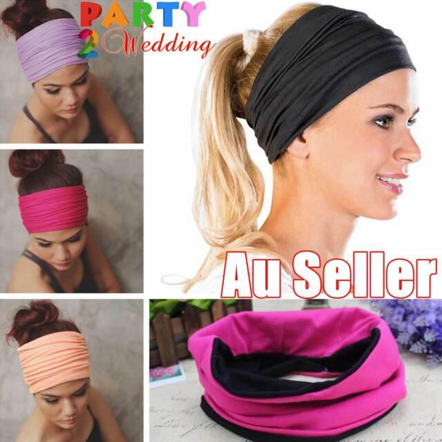 Double Side Wide Sports Yoga Gym Cotton Headband Head Hair Band Girls Women Kids
