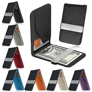 Mens-PU-Leder-Geldscheinklammer-Slim-Wallet-ID-Kreditkarteninhaber-Geldboerse