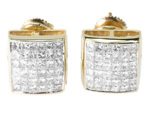 Mens-Ladies-14K-Yellow-Gold-Bezel-Princess-Cut-11-MM-Diamond-Stud-Earrings-2-Ct