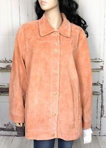 Terry-Lewis-Suede-Leather-Jacket-Sz-1X-Peach-Button-Down-Blazer-Coat-Women-NWT