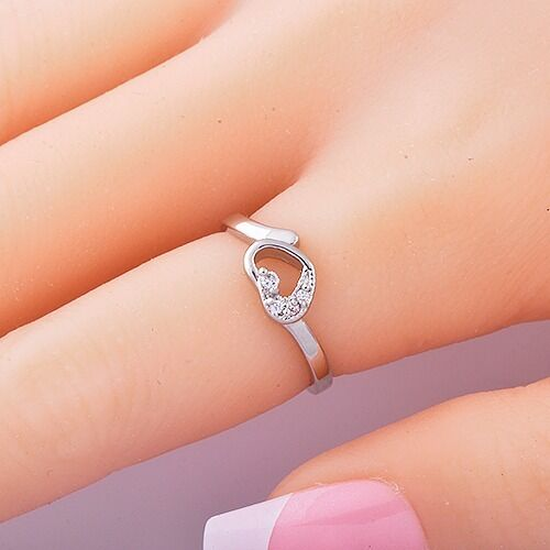 Vintage Womens Heart promise Ring Cubic Zirconia White Gold Filled Rings Size 7