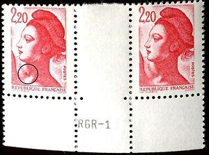 TIMBRE-VARIETES-LIBERTE-2-20-ROUGE-N-Yvert-2376-L41T
