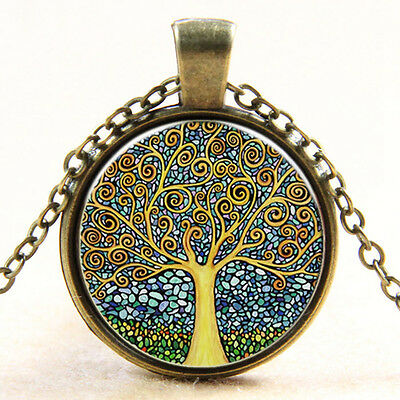 Vintage Tree of Life Cabochon Bronze Glass Chain Pendant Necklace bl-12
