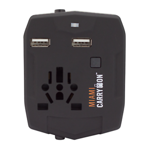 Miami CarryOn World Travel Adapter with 3000mAh Power Bank Worldwide Charger