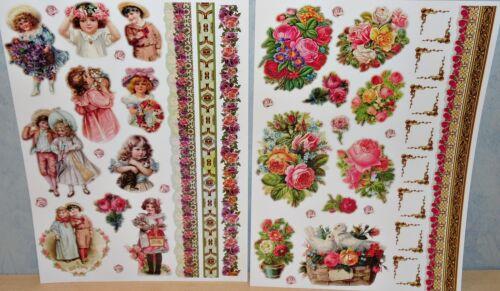Paillettes Sticker Autocollant Nostalgie enfants fille garçon fleurs scrapbooking
