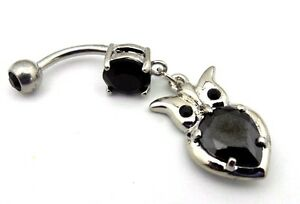 Owl-Belly-Ring-Black-CZ-Gemstone-Jewel-Navel-Bar-Hoot-Owl-Body-Jewelry