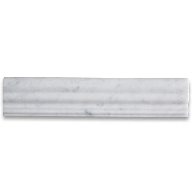 C14h Carrara White Italian Marble Chair Rail Trim Molding 2 1 X 12 Honed