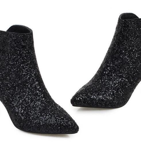 Women Pointy Toe Bling Bling Ankle Boot Paillette Fashion Low Heels Party Shoes
