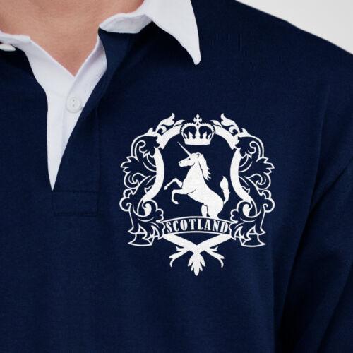 RETRO scotland rugby Jersey Navy Camicia scozzese VINTAGE SCUDO SWEATER Unicorno