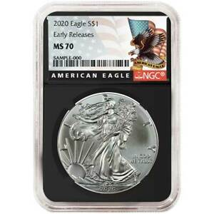 ER White Core Flag Label 2019 1oz Silver American Eagle NGC MS70