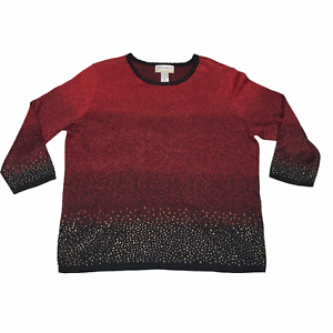 Alfred-Dunner-Womens-Red-Black-Metallic-Scoop-Neck-Long-Sleeve-Blouse-Top