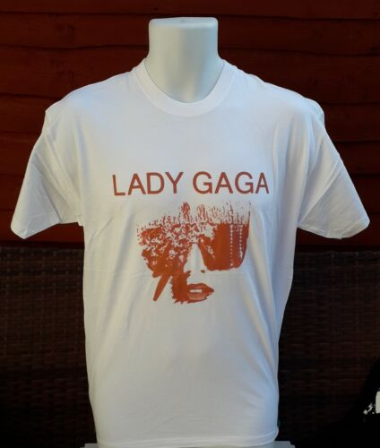 Lady Gaga T.shirt In White Size L with gold print