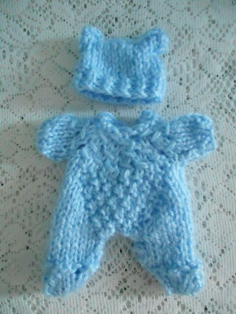 Doll Clothes Blue Hand Knitted Vintage Style Sleeper set footed fit Berenguer 5""