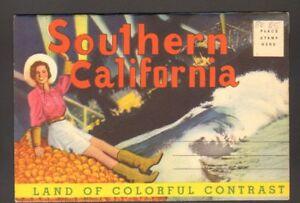 Unused-Souvenir-Postcard-Foldout-Folder-Southern-California-CA-Colorful-Contrast