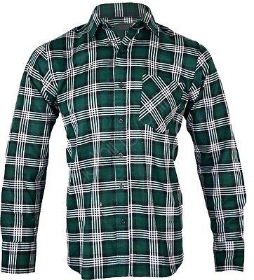 L3 Mens Flannel Lumberjack Check Shirt Brush Cotton Work Shirt