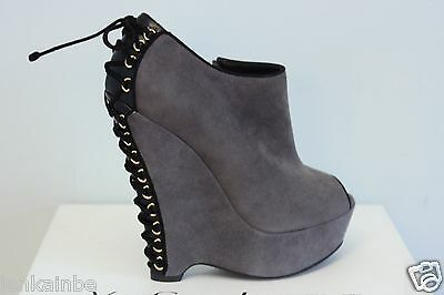 YSL Yves Saint Laurent Madge 105 Black Seppia Suede Wedge Ankle Boots 41 11