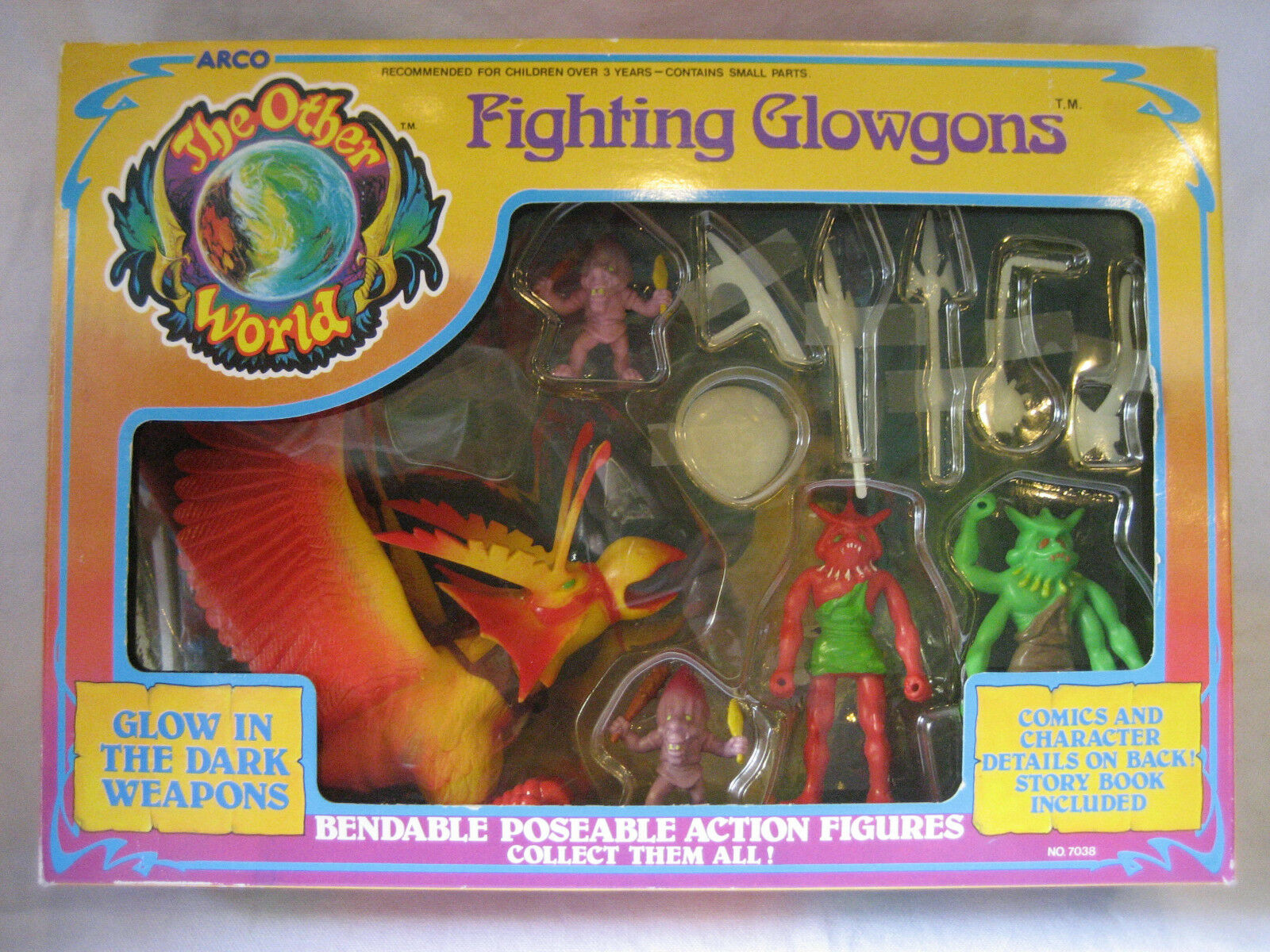 Vintage Arco OTHER WORLD figure set FIGHTING GLOWGONS complete in BOX playset