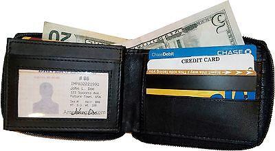 Da Uomo Zip Around Pelle Portafoglio 12 Carta Di Credito 2 Zip Bi-folds Bnwt