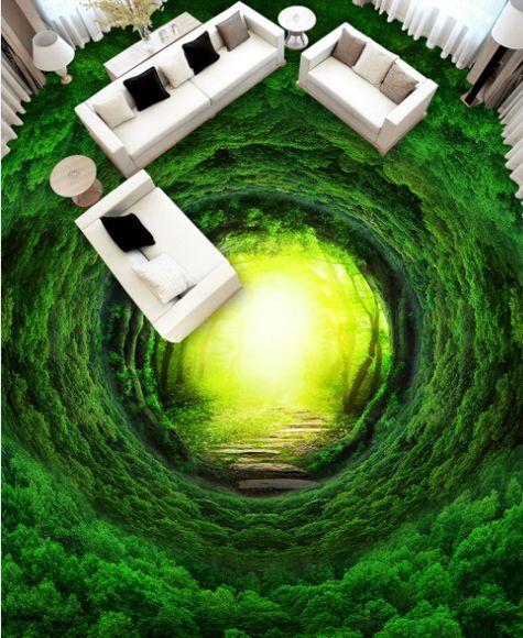 3D Vert Cave Fond d'écran étage Peint en en en Autocollant Murale Plafond Chambre Art | Soldes  56caa1