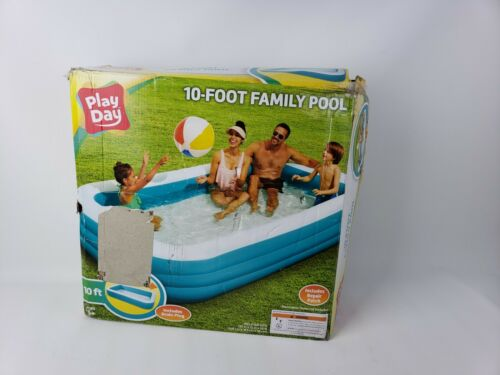 """Play Day Inflatable 10 Foot Rectangular Family Pool 120/""""x72/""""x22/"""""""