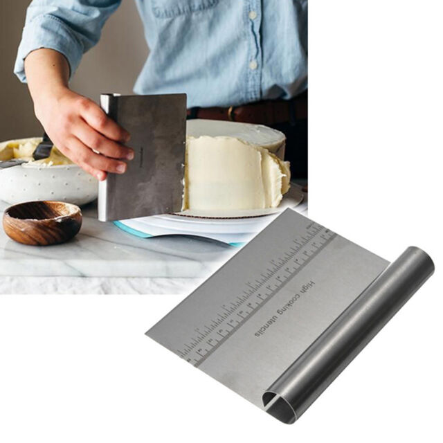Stainless Steel Smoother Edge Cake Scraper Kitchen Flour Pastry Cake Tool FR