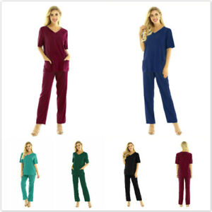 Medical Scrub Uniform Unisex Doctor Nursing Costume Long Pants Hospital Suit