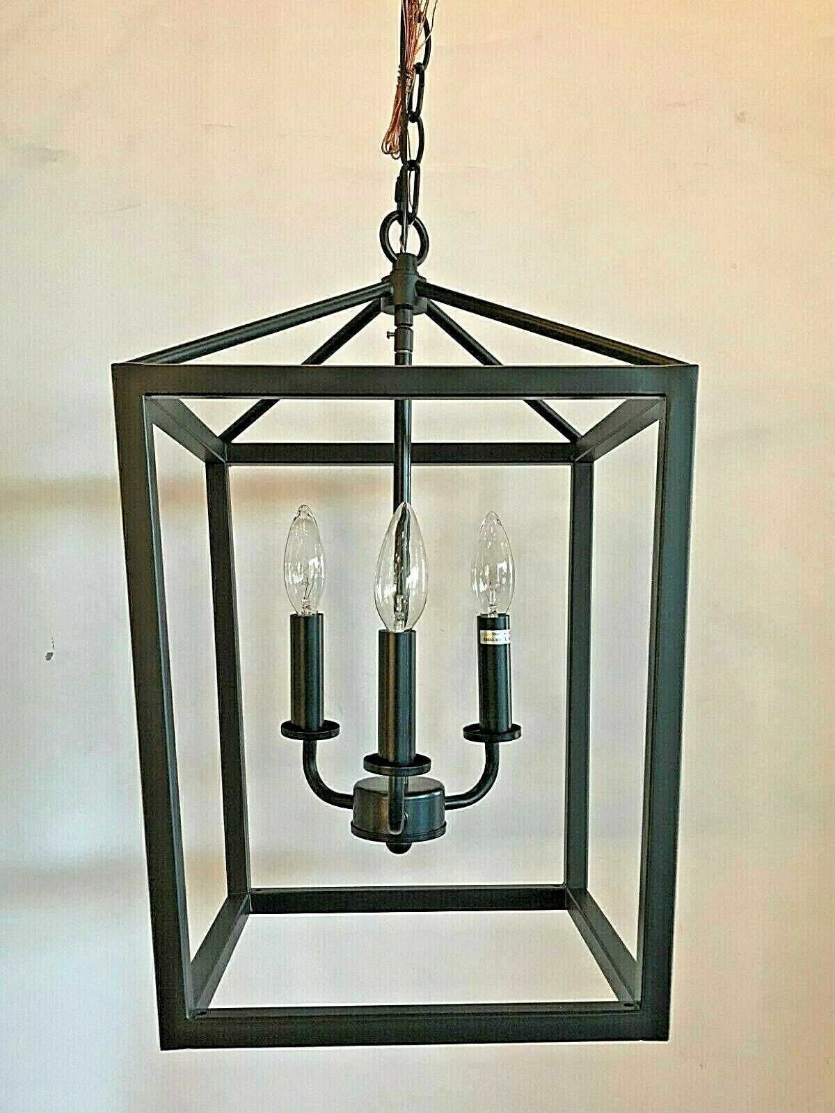 New 3 light Dark Bronze square cage light fixture farmhouse pendant