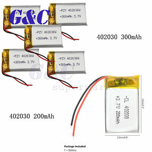 Details about 200/300mAh lipo polymer battery 3 7V For Mp3 Bluetooth  headphone GPS Pen 402030