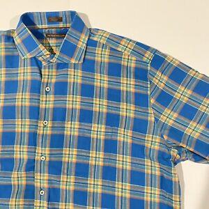 Peter-Millar-Mens-XXL-Blue-Yellow-Plaid-Shirt-100-Cotton-Long-Sleeve-Button-Up