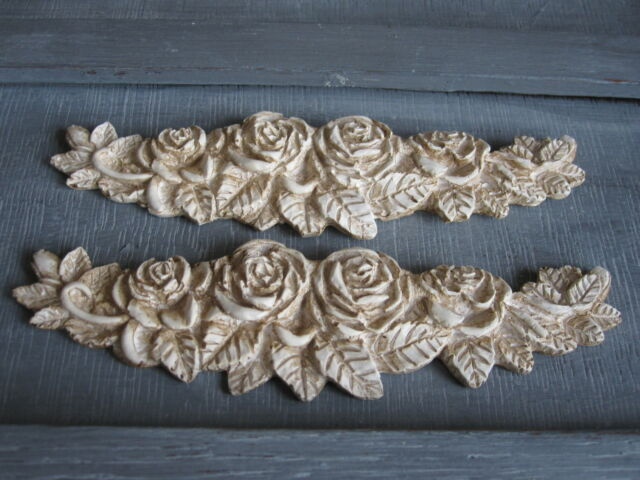 TWO VINTAGE SHABBY CHIC  ROSE DECORATIVE FURNITURE  SWAG MOLDINGS.