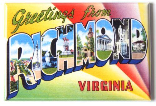 "Greetings from Richmond Virginia FRIDGE MAGNET travel souvenir /""style B/"""
