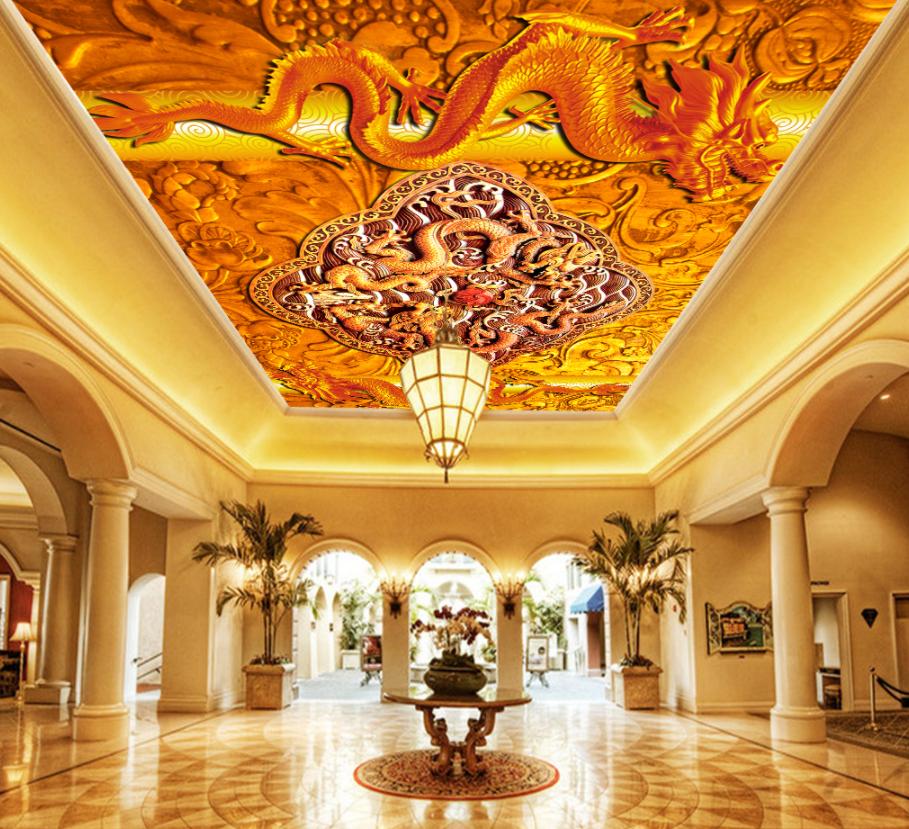 3D Golden Dragon 424 Ceiling Wall Paper Print Wall Indoor Wall Murals CA Jenny