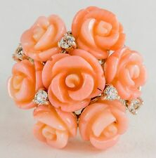 Sterling Silver Carved Coral Roses and White Topaz Ring Size 6