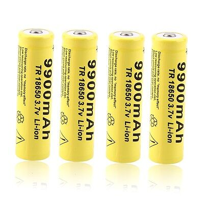 4pcs 3.7V 18650 9900mah Li-ion Rechargeable Battery For LED Flashlight Torch GU