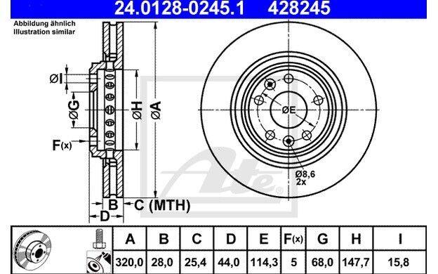 ATE Juego de 2 discos freno 320mm ventilado para RENAULT MEGANE CLIO