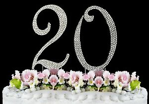 Wondrous Large Rhinestone Crystal Monogram Number 20 Birthday Cake Toppers Funny Birthday Cards Online Overcheapnameinfo